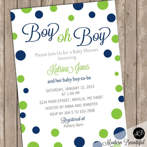 Boy Oh Boy Baby Shower Invitation Navy And Lime Green