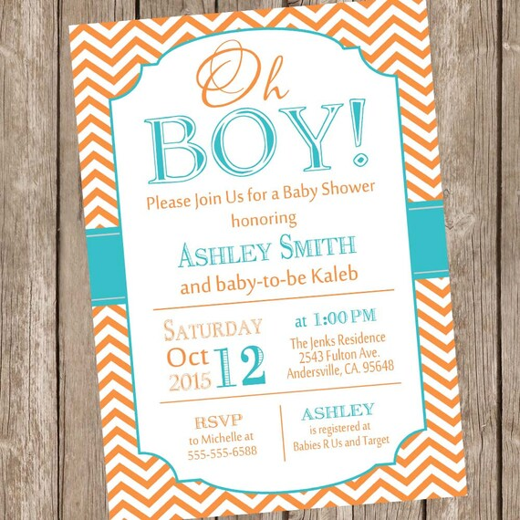 Oh boy baby shower invitation orange and teal baby shower etsy image 0 filmwisefo