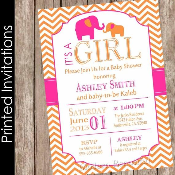 Hot Pink And Orange Baby Shower Invitation Elephant Baby