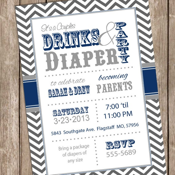 Items Similar To Couples Baby Shower Invitation Drinks And Diaper