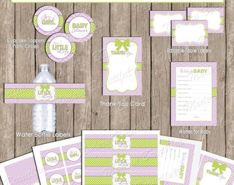 Green and purple girl baby shower party package, chevron baby shower, green, purple, printable (INSTANT DOWNLOAD) - ll1