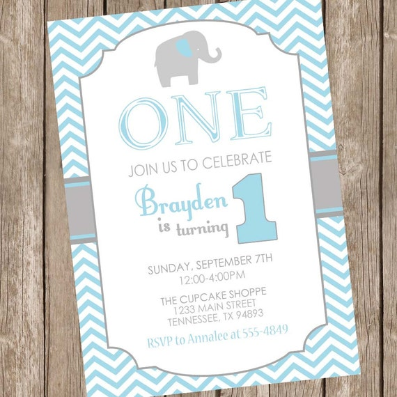 Elephant Birthday Invitation 1st Boy Chevron Blue And Gray