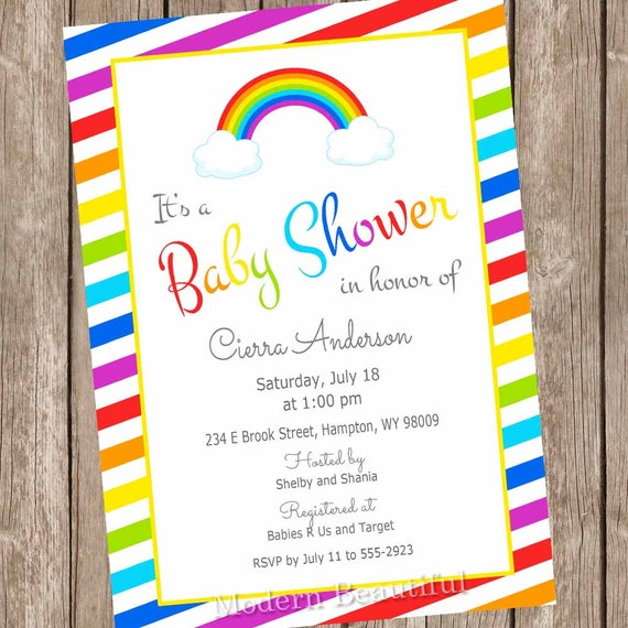 Rainbow Baby Shower Invitations Rainbow Baby Shower