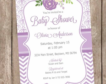 Lavender and gray flower baby shower invitation, elegant baby shower invitation, damask baby shower invitation, girl baby shower invitation