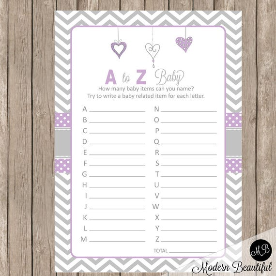 Purple And Gray Hearts Baby Shower A To Z Baby Game Baby Shower