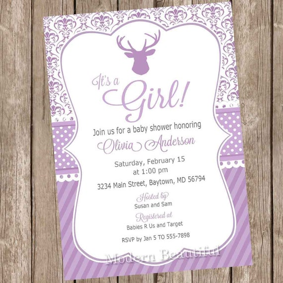 Deer It S A Girl Baby Shower Invitation Purple And Gray Invite