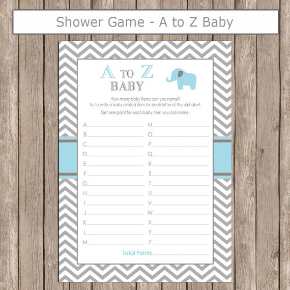 Elephant Baby Shower A To Z Baby Game In Baby Blue And Gray Etsy