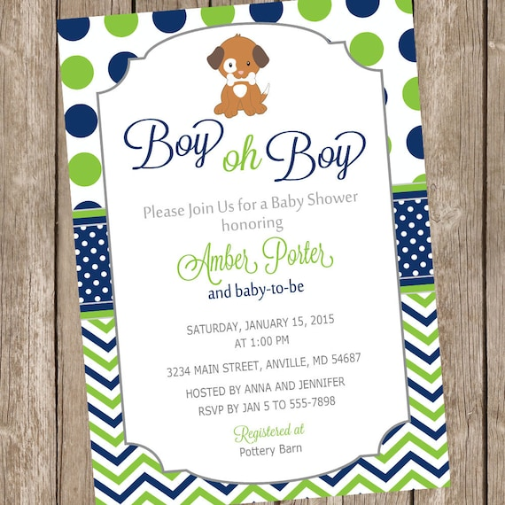 Boy oh boy puppy baby shower invitation lime and navy filmwisefo