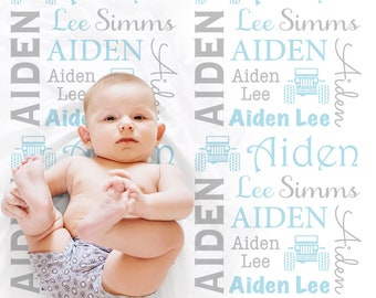 Jeep 4x4 baby blanket, baby boy personalized baby gift, jeep name blanket, baby blanket, personalized blanket, jeep baby gift, choose colors