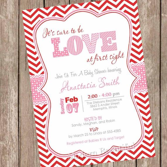 Valentine S Day Baby Shower Invitation Red Pink Chevron Hearts