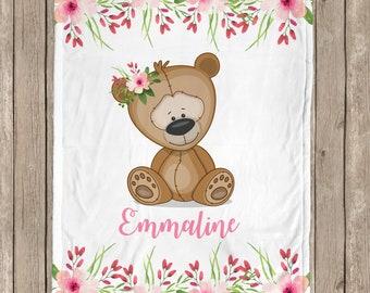 Baby girl teddy bear blanket, floral bear baby blanket, teddy bear gift, personalized baby girl blanket, custom name, sherpa, choose colors