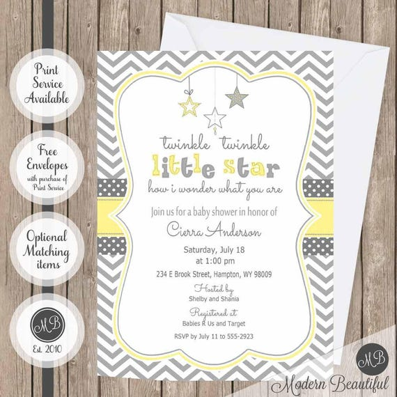 photograph regarding Free Printable Twinkle Twinkle Little Star Baby Shower Invitations known as Yellow and Grey Twinkle Twinkle Minor Star youngster shower invitation, gender impartial youngster shower invitation, star invitation, yellow Star-Y