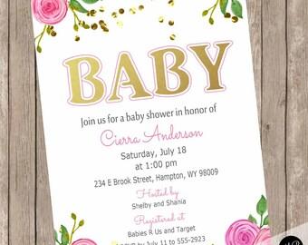 Girl baby shower invitation, elegant baby shower invitation, floral baby shower invitation, Pink flower baby shower invitation