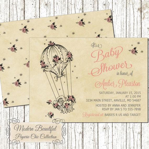 Baby Girl Shower Invitation Vintage Baby Shower Invitation Pink