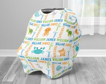 Sea Animals car seat cover, under the sea animal custom infant car seat cover, boy or girl, personalized name carseat cover, nursing privacy