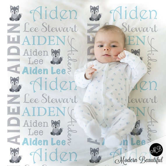 baby blanket Woodland Forest Animals Name Blanket Boy personalized blanket choose colors personalized baby gift photo prop blanket