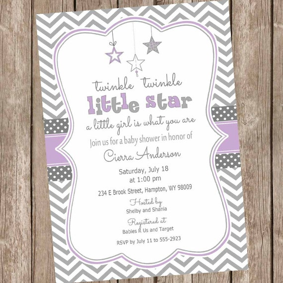 twinkle twinkle little star baby shower invitation purple and gray