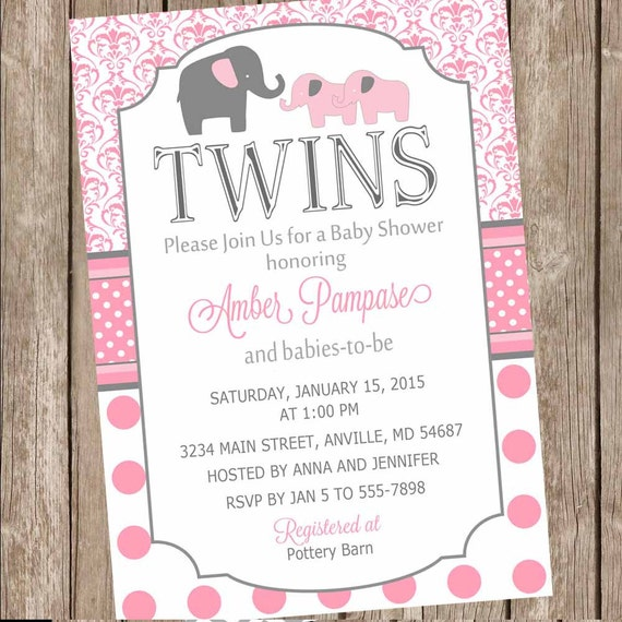Polka Dot Twin Girl Baby Shower Invitation Twin Girl Etsy