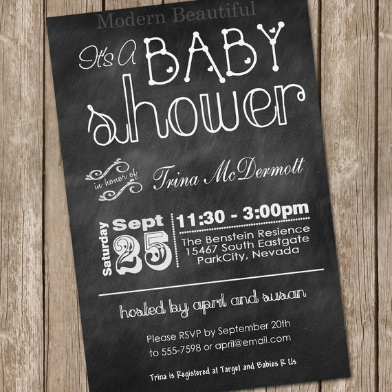 Chalkboard baby shower invitation chalkboard typography etsy image 0 filmwisefo