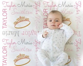 Princess crown baby blanket, personalized princess baby gift, princess blanket, crown baby blanket, personalized name blanket, choose colors