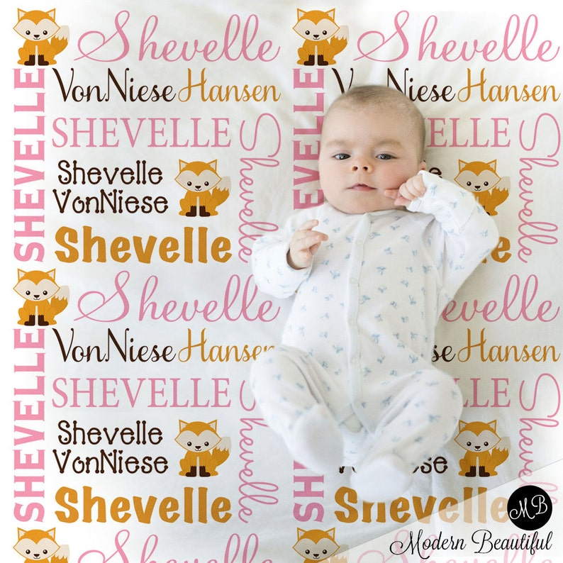 Fox Baby Girl Name Blanket in pink orange and brown | Etsy