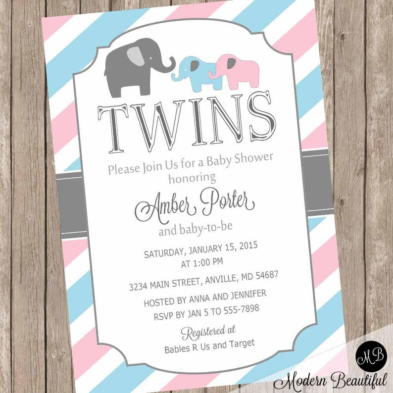 Elephant Twins Baby Shower Invitation Twin Girl Twin Boy Etsy
