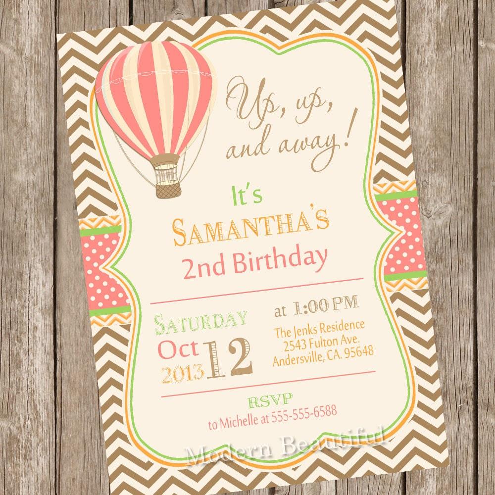 Vintage Hot Air Balloon birthday invitation birthday | Etsy