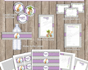 Safari Baby Shower Party Package, jungle baby shower package, chevron, purple and green, printable file(INSTANT DOWNLOAD) - Safari1