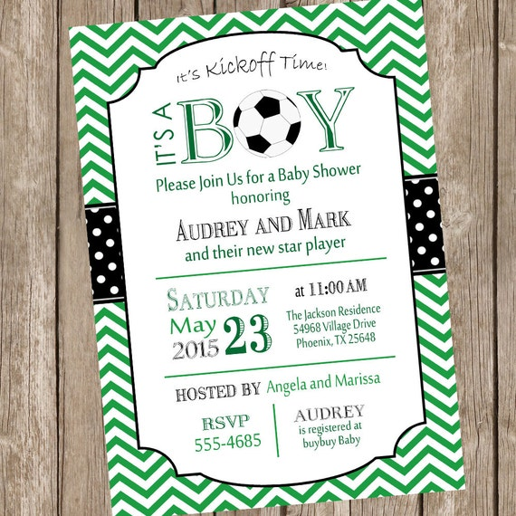 Soccer Baby Shower Invitation, Chevron Baby Shower Invitation, Sports Baby Shower Invitation