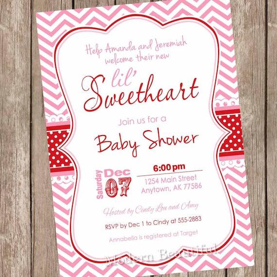 Valentine S Day Baby Shower Invitation Pink Red Etsy