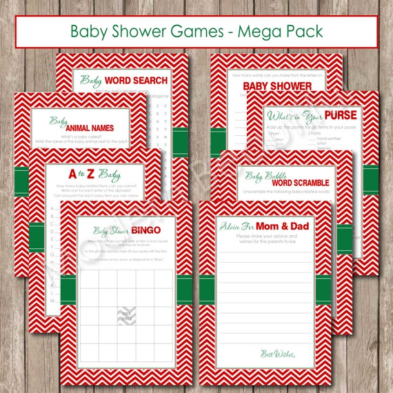 Christmas Baby Shower Game Pack Chevron Baby Shower Games Red