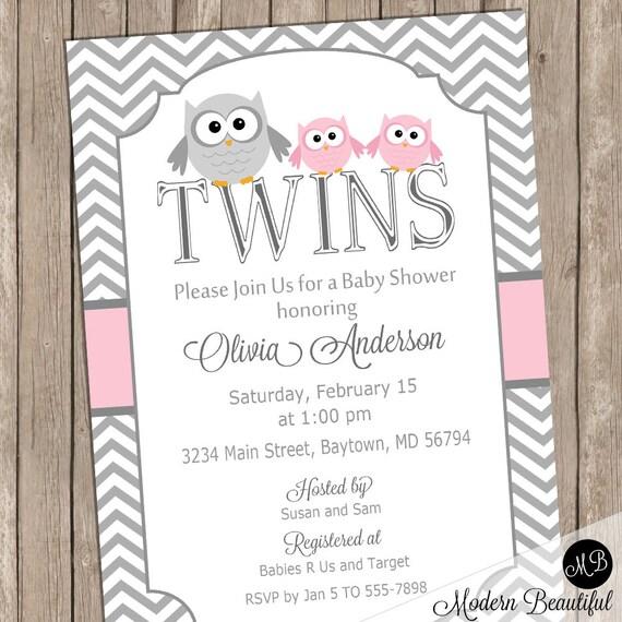 Girl Twins Owl Baby Shower Invitation Pink Owls Chevron Baby