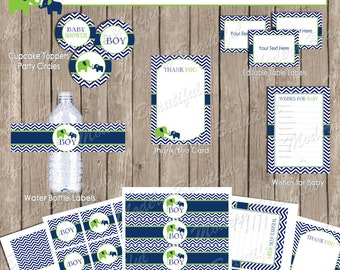 Navy and lime baby shower package, chevron baby shower, elephant baby shower, boy elephant shower, printable (INSTANT DOWNLOAD *) - lne1