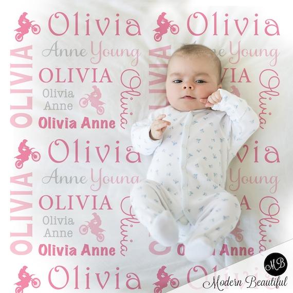 Motocross Baby Blanket Girl Dirt Bike Baby Blanket