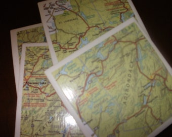 Map Coasters - Adirondack Mountain Map Coasters...Set of 4...Full Cork Bottoms...For Drinks and Candles...Great Gift