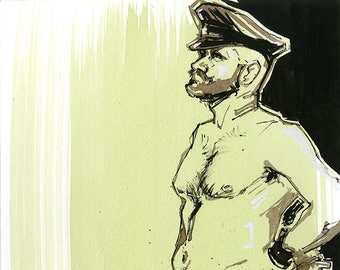 Man in Leather Fetish Gear Sketch