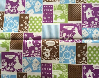 SALE Alice in wonderland fabric purple and green one yard