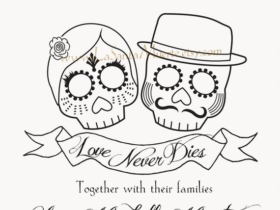 Day Of The Dead Wedding Invitations: Items Similar To Day Of The Dead Wedding Invitations