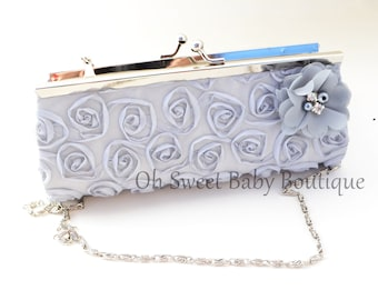 0e039cccda1 Rosette Bridal Bridesmaid Clutch Purse