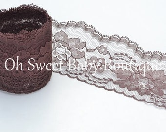 "3"" Floral Lace Brown 10 Yards"