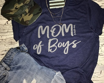 MOM OF BOYS Tri Blend tee
