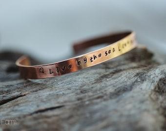 Handstamped Solid Copper Cuff Bracelet