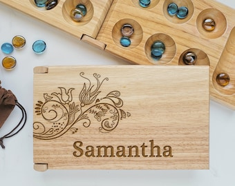 Mancala Board - African Stone Game -Engraved Floral Wood -  Flower Girl Gift - Child Educational Tool - Counting Games