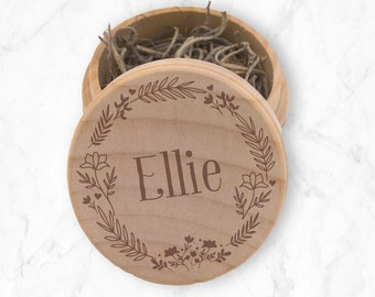 Floral Jewelry Box - Wooden Trinket Container - Flower Girl  Thank You Gift