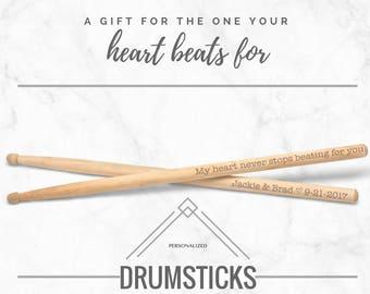Valentine's Day Drumsticks, Personalized Drum Sticks Any Text