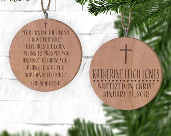 baptism ornament personalized christmas ornament christening ornament bible jeremiah 29 i know the plans i have for you christian gifts