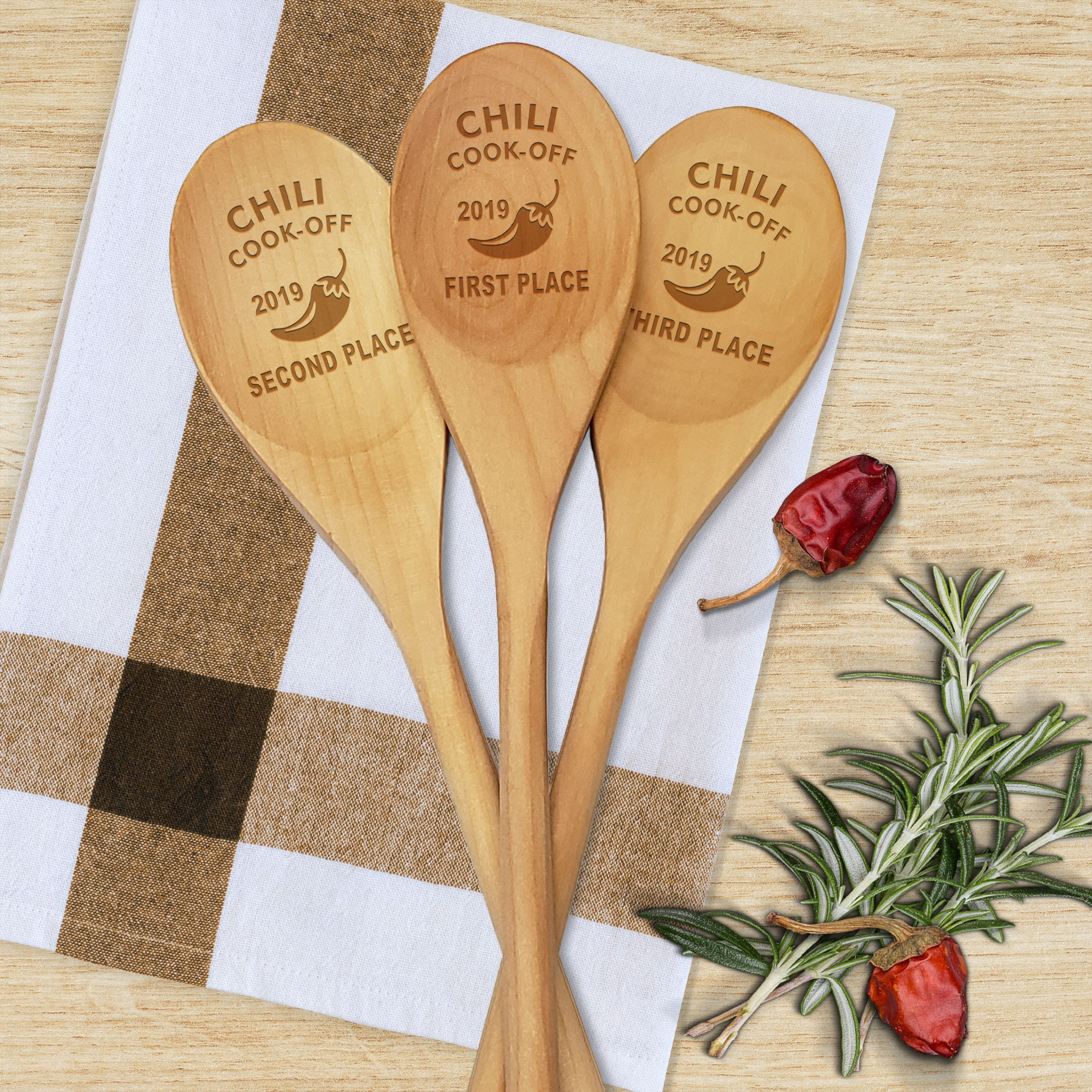 Chili Cook Off Personalized Wooden Spoon Prize, Hostess Gift, First Place  Chili Cook-Off Award, Cookoff Champion, Engraved Birch Wood Spoon