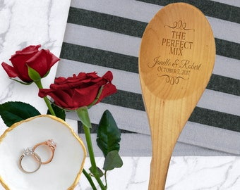 The Perfect Mix Personalized Wooden Spoon- Kitchen Shower Favor - Engraved Wedding Utensil - Valentine's Day Gift