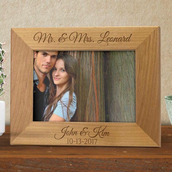 Engraved Photo Frame Wooden Photo Frame Personalized Photo Etsy