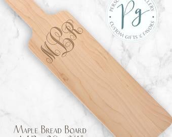 Maple Bread Board, Walnut Serving Board, Vine Monogram Custom Engraved Bread Board,  Personalized Cutting Board, Engraved Breadboard
